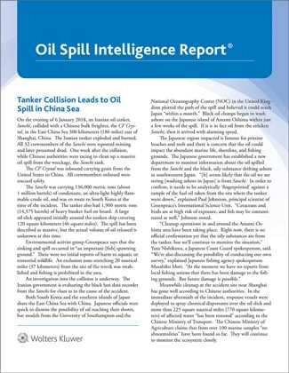 Oil Spill Intelligence Report by Wolters Kluwer Editorial Staff