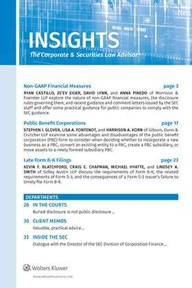 Insights: The Corporate and Securities Law Advisor by Amy L. Goodman, Esq.