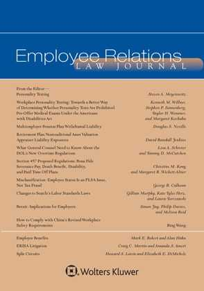 Employee Relations Law Journal by Steven A. Meyerowitz