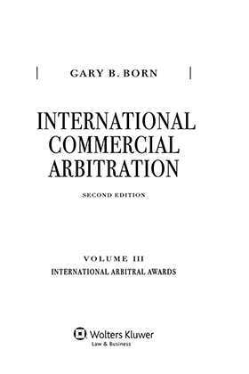 International Commercial Arbitration Volume III:International Arbitral Awards