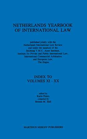 Netherlands Yearbook of International Law, Index To Vol XI-XX